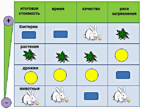 Сравнение систем продукции рекомбинантных белков