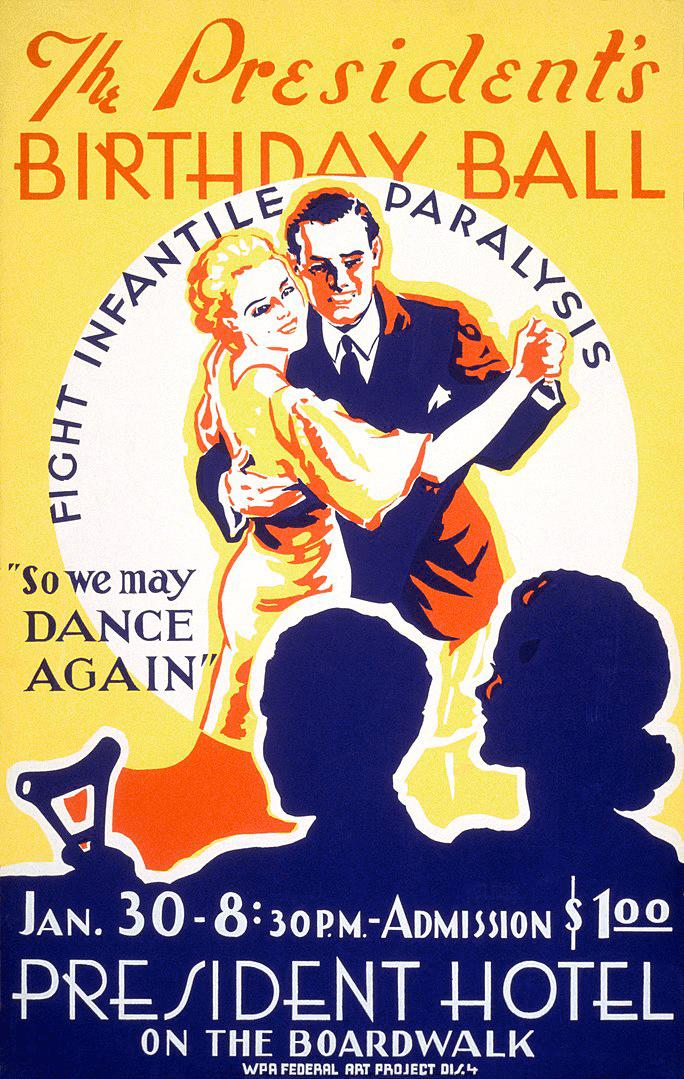 Постер, объявляющий о благотворительном бале в честь дня рождения Рузвельта